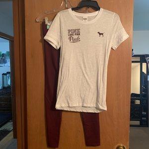 PINK VS Ulitmate Leggings (sm) & shirt. (med)